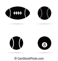 pretas, vetorial, silueta, bola