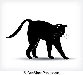 pretas, vetorial, silueta, cat.