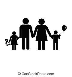 pretas, vetorial, silueta, família