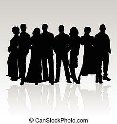 pretas, vetorial, silueta, pessoas