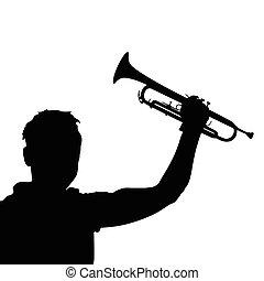 pretas, vetorial, trompete, homem