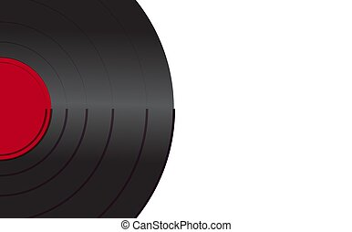 pretas, vibrante, vinil, musical, análogo, retro, antigas, antigüidade, hipster, vindima, gramophone, registro, com, um, vermelho, centro, para, um, gramophone, ligado, um, fundo branco, ligado, a, left., vetorial, ilustração