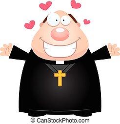 prete, abbraccio, cartone animato
