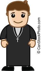 prete, carattere, cartone animato, chiesa