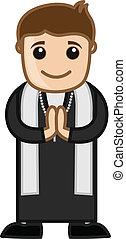 prete, cartone animato, felice