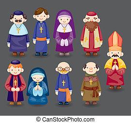 prete, cartone animato, icona