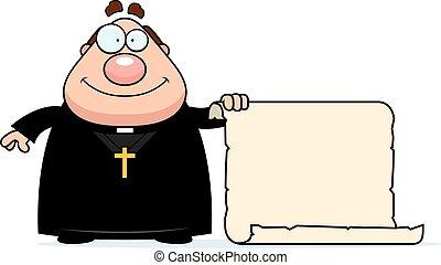 prete, cartone animato, segno