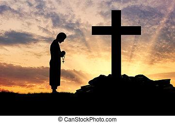 prete, silhouette, croce
