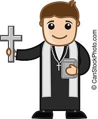 prete, vettore, cristiano, cartone animato