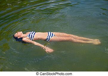 preteen, agua, niña, flotar