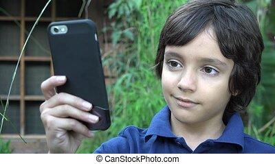 Preteen Boy Taking Selfie