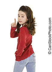Preteen - Caucasian preteen using her finger to display some...