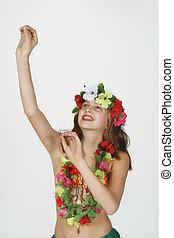 Preteen girl dressed as Hula Girl - Model Release #261...