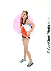 Preteen girl - Preteen caucasian girl standing on a white...