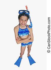 Preteen Girl - Portrait of preteen girl in a swimsuit