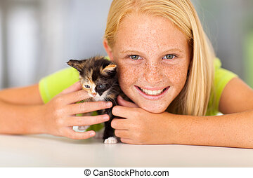 preteen girl with pet friend - preteen girl with her pet...