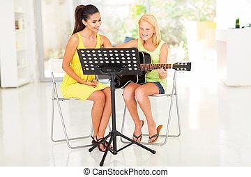 preteen, ha, gitarr, privatläraren, flicka, lektion