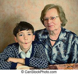 preteen handsome boy with grandma