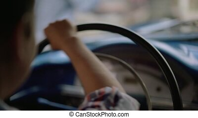 Preteen Kid Learning Drive Old Car With Senior Man