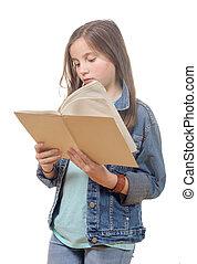 preteen, niña, libro, lee