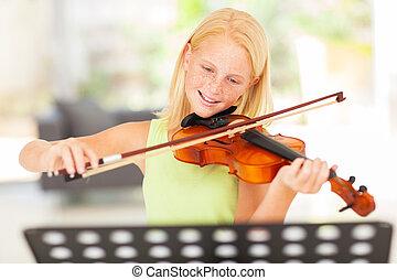 preteen, niña, practicar, violín, en casa