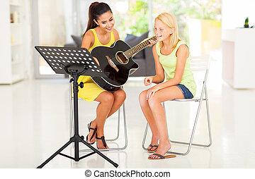preteen, ung, ha, gitarr, flicka, lektion