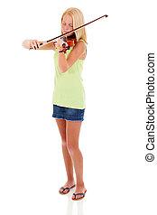 preteen, viool, kunstenaar, spelend, jonge