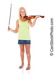 preteen, viool, meisje, boog