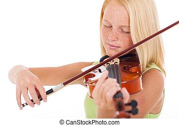 preteen, viool, meisje, spelend