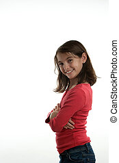 Preteen with arms crossed - A preteen girl standing sideways...