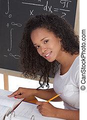 preto étnico, estudante universitário, mulher, estudar, matemática, exame