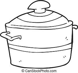 preto branco, caricatura, cozinhando potenciômetro