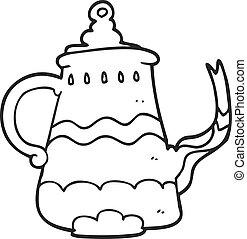 preto branco, caricatura, fantasia, cafeteira