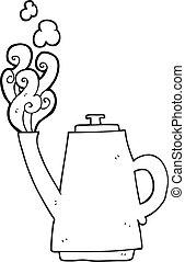 preto branco, caricatura, fumegue café, chaleira