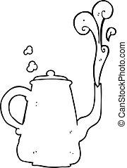 preto branco, caricatura, fumegue café, pote