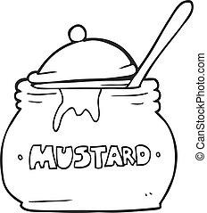 preto branco, caricatura, mostarda, pote