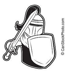 preto branco, clipart, cavaleiro
