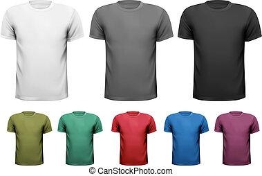 preto branco, e, cor, homens, t-shirts., desenho, template., vetorial, ilustração