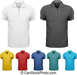preto branco, e, cor, homens, t-, shirts., desenho, template., vetorial, ilustração