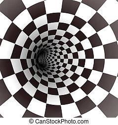 preto branco, espiral, tunnel., vetorial
