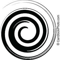 preto branco, espiral, vetorial