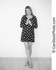 preto branco, imagem, de, cute, mulher grávida, posar, com, pirulito