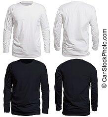 preto branco, manga longa, camisa, escarneça, cima