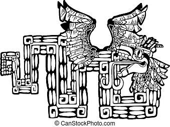preto branco, mayan, kukulcan, imagem
