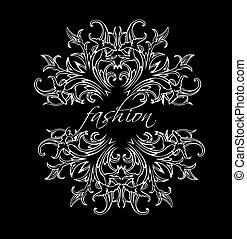 preto branco, moda, folhas, ornate, quad