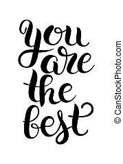 preto branco, modernos, caligrafia, positivo, citação, tu, é, a, ser