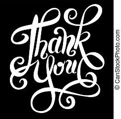 preto branco, obrigado, manuscrito, lettering, inscrição