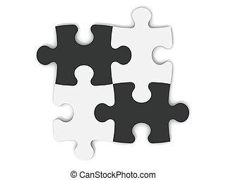 preto branco, partes jigsaw