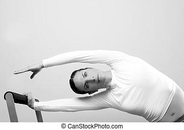 preto branco, pilates, mulher, desporto, condicão física, retrato