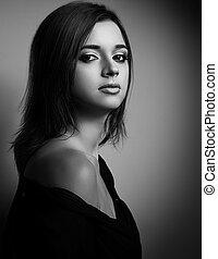 preto branco, retrato, de, mulher bonita